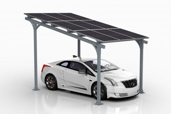 Samochód pod solarnym CarPortem AE40